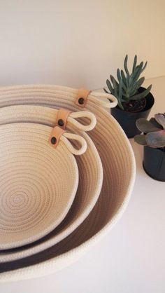 Beautiful Natural Cotton Rope Basket // Handmade in Paris // Basket with Leather Detail // Storage Basket // Three Sizes // Gift Idea Handmade Home Decor learn how to diy cute trivets Rope Basket, Basket Weaving, Rope Decor, Fabric Bowls, Rope Crafts, Handmade Home Decor, Handmade Gifts, Handmade Ideas, Cotton Rope