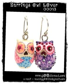 @kaylan bacon Owl Lover Ceramic Earrings Handmade Jewelry Accessories Craft 00013