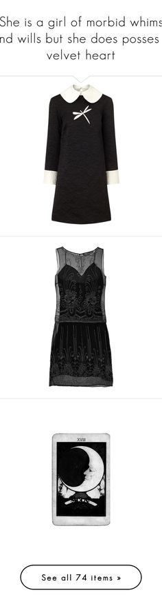 """""""She is a girl of morbid whims and wills but she does posses a velvet heart"""" by babytangerine ❤ liked on Polyvore featuring dresses, black, peter pan collar dress, peter pan dress, jacquard dress, textured dress, open back dresses, black dress, party dresses and ralph lauren"""