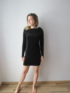 Vintage Black Mini Velvet Dress Long Sleeve Velvet Dress Sexy Party Velvet Dress  Velvet Formal Dress Cocktail Dresses Size Medium
