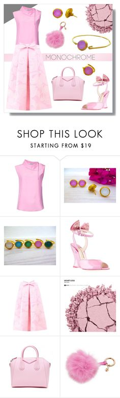 """""""Summer Pink Monochrome - Evangelos Jewellery"""" by evanangel ❤ liked on Polyvore featuring Tome, Sophia Webster, Boutique Moschino, Urban Decay, Givenchy and Trussardi"""