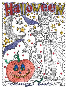 HALLOWEEN COLORING BOOK NEW COVER AND MORE PAGES!!!!!! Be the Artist, Have some FUN!!!!  All Ages love my Coloring Books!  These cute little