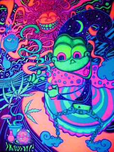 Adriel Restrepo - Featured Marijuana Artist My name is Adriel Restrepo and I am self taught learning UV glow in the dark blacklight art through. Aliens, Trippy Pictures, Trippy Drawings, Trippy Painting, Marijuana Art, Trippy Wallpaper, Stoner Art, Weed Art, Psy Art