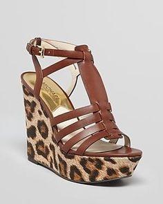 MICHAEL Michael Kors Platform Wedge Sandals - Georgie Leopard Print