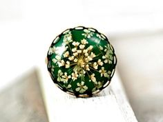 Grass Green Ring with Real Dried Flowers