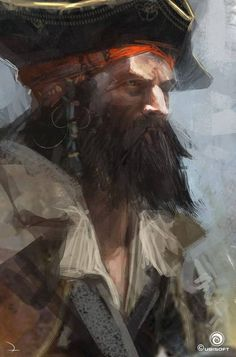 Pirate Portrait#ConceptArt from #AssassinsCreedIVBlackFlag by #MartinDeschambault