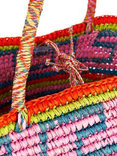 Sensi Studio Maxi straw tribal-print tote