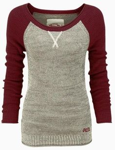 Comfy grey sweater with maroon full sleeves... Want one.