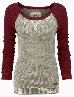 Beautiful thermal baseball sweater shirt, looks comfy Raglan Shirts, Pullover Shirt, Sweater Shirt, Grey Sweater, Burgundy Sweater, Comfy Sweater, Grey Shirt, White Cardigan, Cut Shirts
