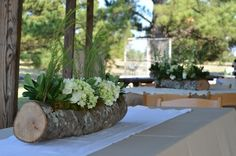 Tree Stump Vases | wooden tree stump vases, cut by the groom Pic by Beth Carr http://www ...