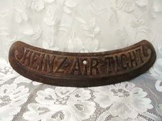 HEINZ AIR TIGHT Cast Iron Wood Stove Name Plate- Parts- Neat Old Advertising Piece- Farm Chic- Country Kitchen Deco- Numbered 927r by OrphanedTreasure on Etsy