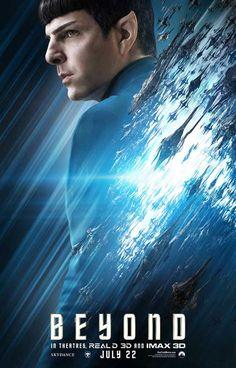 Star Trek Beyond Spock movie poster, hero shot, Zachary Quinto, produced by JJ Abrams, based on characters created by Gene Roddenberry Star Trek 2009, New Star Trek, Star Trek Beyond Movie, Star Trek Movies, Science Fiction, Star Trek Voyager, Stargate Atlantis, Smallville, Star Wars