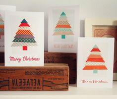 idées de cartes de vœux Noël faites maison ruban adhésif Washi-Tape