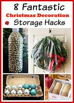 Low cost Christmas decor storage ideas.