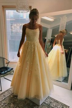 Buy A Line Yellow Tulle Prom Dresses with Lace Appliques, Criss Cross Straps Formal Dresses short long ombre prom, homecoming, bridesmaid evening dresses at Couture Candy Cocktail party dresses, formal ball gowns in ombre colors. Prom Dress Green, Burgundy Homecoming Dresses, Prom Dresses For Teens, Unique Prom Dresses, Prom Party Dresses, Party Gowns, Girls Dresses, Formal Dresses, Dresses Dresses