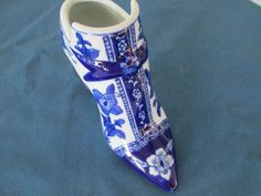 Vintage Blue And White Floral Porcelain Shoe Home by BitofHope