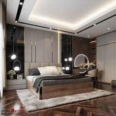 Thiết kế nội thất phòng ngủ gỗ công nghiệp cho biệt thự tại Gia Lâm - Hà Nội với phong cách hiện đại Modern Luxury Bedroom, Luxury Bedroom Design, Master Bedroom Interior, Bedroom Closet Design, Modern Master Bedroom, Bedroom Furniture Design, Luxurious Bedrooms, Ceiling Design Living Room, Bedroom False Ceiling Design