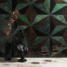 Shop our most exquisite collection of precision-cut waterjet designs for a unique look. Shop our stone, glass, mosaic options and more here! Green Tile Backsplash, Wall Tiles, Tile Patterns, Shape Patterns, Marble Porcelain Tile, Foyer Flooring, Patio Tiles, Green Marble, Off The Wall