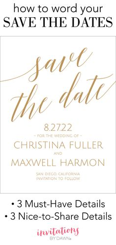 Save the Date Wording Examples