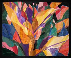 Katie Pasquini Masopust - Big Leaves    Two photographs of a canna plant were superimposed to create this dense foliage.    The leaves were done in complimentary colors with the three big yellow leaves creating the focal point.