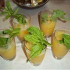 Apple Julep  1 quart apple juice  1 cup orange juice  1 cup pineapple juice  1/4 cup lemon juice  1 sprig fresh mint leaves