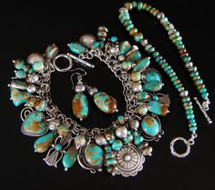 BOULDER Turquoise OLD PAWN Navajo Squash Blossom Charm BRACELET NECKLACE EARRING | Jewelry & Watches, Ethnic, Regional & Tribal, Native American | eBay!
