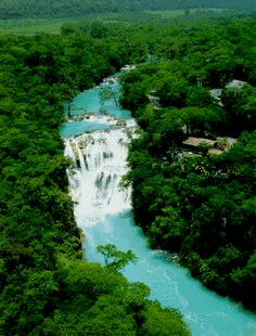 San Luis Potosi Mexico, Cascada de Micos is a bright turquoise waterfall in Mexico that has clear water once in it!