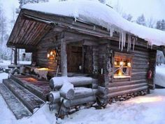 Little snow-covered cabin
