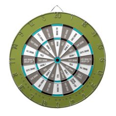 Drinking Game in Green, Gray and Teal blue Dart Board