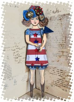 Red White & Blue paper doll by Catherine Moore working with Character Constructions art stamps, Blue Daisy collection.