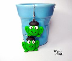 Frogs with french beret Earrings  Handmade in Polymer Clay