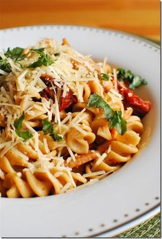 Bacon, Mushroom and Sun Dried Tomato pasta