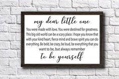 My Dear Little One,Nursery Wall Art,Children's Bedroom Wall Decor,Little Boy's Room Decor,Little Girl's Room Decor,Nursery Art, New Mom Gift by doudouswooddesign on Etsy
