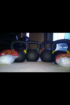 New addition to our home gym equipment. . . Kettlebells and chalk. Love it! #crossfit