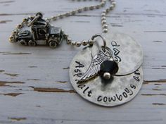 For all you asphalt cowboys angels - personalized with your choice of initials We are a truckin family, so this necklace is close to our heart! We have other truckers wife necklaces available in our s