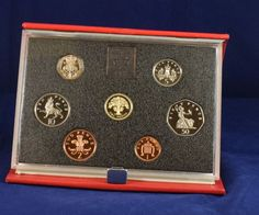 1987 United Kingdom UK Proof coin collection COA red leather case