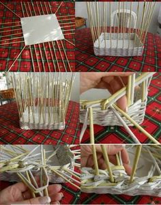 DIY Woven Paper Easter Egg Basket and Tray - HowToInstructions.Us