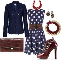 Navy polka dot dress, accessorised with red, love it except the shoes. I would die