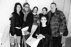 Charlotte Stockdale, Hamish Bowles, Amanda et Tallulah Harlech et Michel Gaubert après le défilé Céline printemps-été 2014 http://www.vogue.fr/mode/inspirations/diaporama/les-coulisses-de-la-fashion-week-printemps-ete-2014-a-paris-jour-6/15480/image/861816#!6