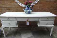 VINTAGE STAG DRESSING TABLE/LOW SIDEBOARD/DESK ANNIE SLOAN SHABBY CHIC