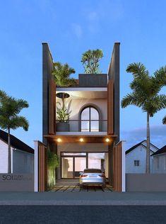 ideas small modern home design interiors Unique House Design, House Front Design, Narrow House Designs, Small House Exteriors, Modern Minimalist House, Bungalow House Design, Street House, Facade House, Exterior Design