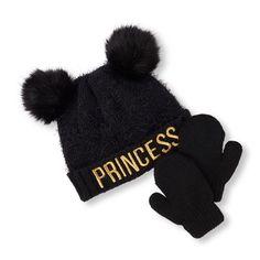 Baby Girls Toddler Metallic  Princess  Double Pom Pom Fuzzy Beanie And Mittens  Set - c63c89a5ec4b