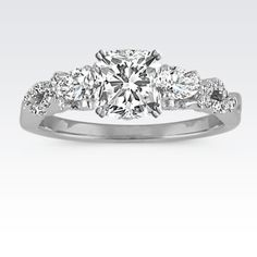 Pear-Shaped and Round Diamond Vintage Infinity Swirl Engagement Ring