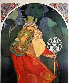 Vintage Illustration Sixth Sokol Festival Poster, 1912. Alphonse Mucha