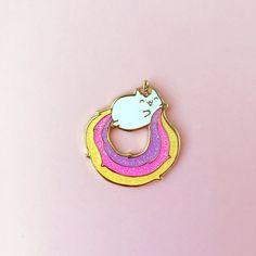 Caticorn Glitter Enamel Lapel Pin by thepinksamurai on Etsy