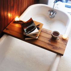 Wooden Tub Caddy in Natural