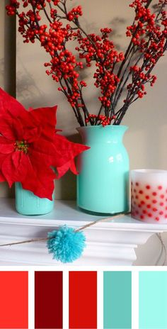 Christmas Color Palettes with a hint of turquoise! Lovely.