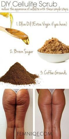 DIY Cellulite Scrub with Coffee Grounds, Olive Oil and Brown Sugar - 13 Homemade Cellulite Remedies, Exercises and Juice Recipes https://www.beauty-secrets.us/product/101homemade-remedies/