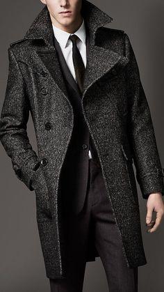 Burberry Wool Tweed Belted Coat in Gray for Men (dark grey melange)