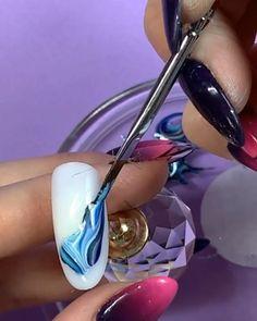 Purple Ombre Nails, Red Gel Nails, Glam Nails, Nude Nails, Beauty Nails, Acrylic Nails, Silver Nail Designs, Marble Nail Designs, Nail Art Designs Videos